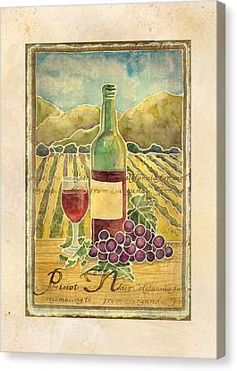 Vineyard Pinot Noir Grapes N Wine - Batik Style Canvas Print by Audrey Jeanne Roberts