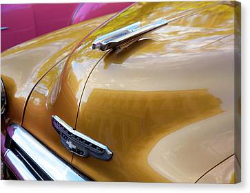 Canvas Print featuring the photograph Vintage Chevy Hood Ornament Havana Cuba by Charles Harden