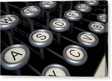 Vintage Typewriter Keys Close Up Canvas Print by Allan Swart