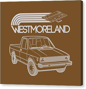 Vw Rabbit Pickup - Westmoreland Theme - Black Canvas Print