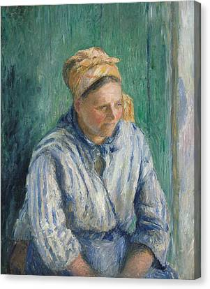 Washerwoman, Study Canvas Print by Camille Pissarro