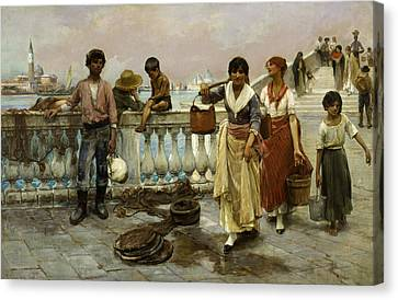 Water Carriers, Venice Canvas Print by Frank Duveneck