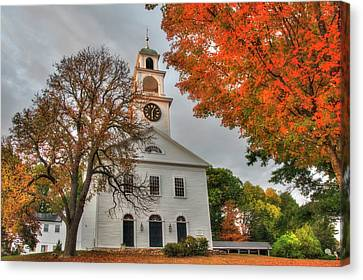 Sudbury Ma Canvas Print - White Church In Autumn by Joann Vitali