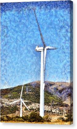 Wind Turbines Canvas Print - Wind Turbines by George Atsametakis