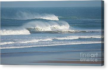 Canvas Print featuring the photograph Windy Seas In Cornwall by Nicholas Burningham