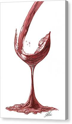 Red Wine Pouring Canvas Print by Julie Senf