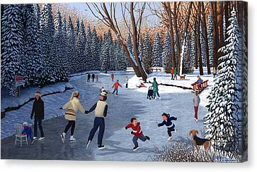 Winter Fun At Bowness Park Canvas Print by Neil Woodward