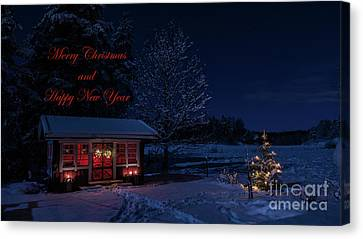 Canvas Print featuring the photograph Winter Night Greetings In English by Torbjorn Swenelius