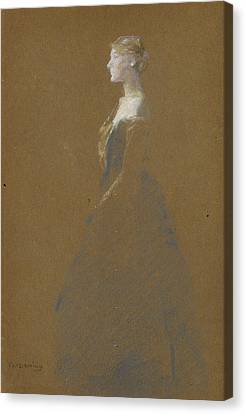 Woman In A Blue Dress Canvas Print by Thomas Wilmer Dewing