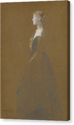 Woman In A Blue Dress Canvas Print