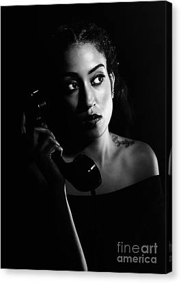 Woman On Telephone Canvas Print by Amanda Elwell