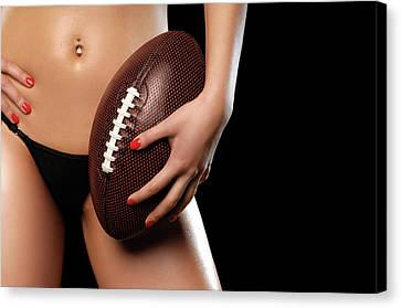 Woman With A Football Canvas Print by Oleksiy Maksymenko