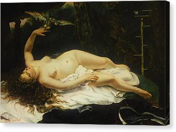 Woman With A Parrot Canvas Print by Gustave Courbet