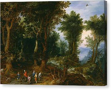 Wooded Landscape With Abraham And Isaac Canvas Print by Jan Brueghel the Elder