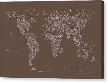 Made Canvas Print - World Map Of Cities by Michael Tompsett