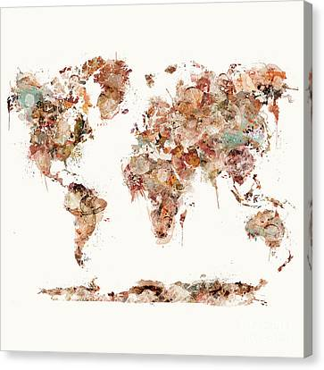 Canvas Print featuring the painting World Map Watercolor by Bri B