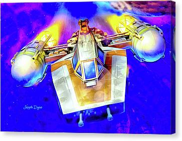 Outer Space Canvas Print - Y-wing Fighter - Watercolor Style by Leonardo Digenio