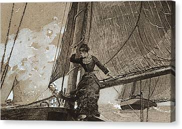Yachting Girl Canvas Print by Winslow Homer