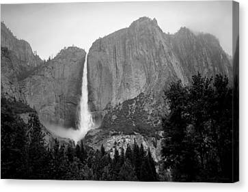 Yosemite Falls Vertical B And W Canvas Print