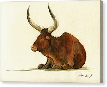 Bulls Canvas Print - Zebu Cattle Art Painting by Juan  Bosco