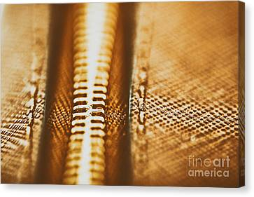 Zipper Closeup On Brown Leather Wallet Canvas Print