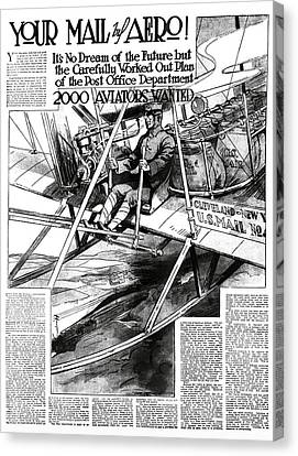2000 Aviators Needed For U. S. Mail Delivery 1914 Canvas Print by Daniel Hagerman