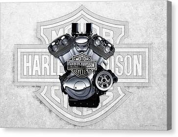 Canvas Print featuring the digital art 2002 Harley-davidson Revolution Engine With 3d Badge  by Serge Averbukh