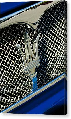 2002 Maserati Combiocorsa Spyder Hood Ornament Canvas Print by Jill Reger