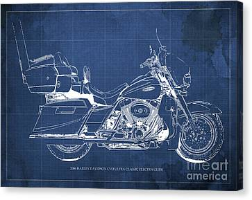 2006 Harley Davidson Cvo Ultra Classic Electra Glide Blueprint Blue Background Canvas Print by Pablo Franchi