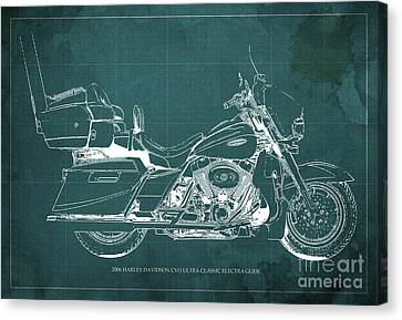 2006 Harley Davidson Cvo Ultra Classic Electra Glide Blueprint Green Background Canvas Print by Pablo Franchi