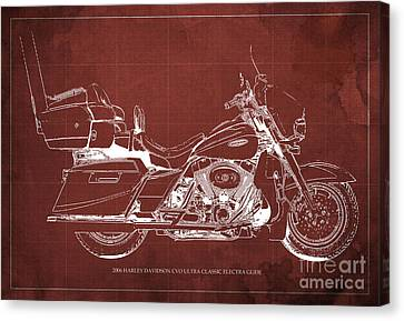 2006 Harley Davidson Cvo Ultra Classic Electra Glide Blueprint Red Background Canvas Print by Pablo Franchi