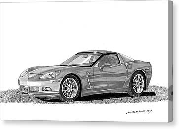 Canvas Print featuring the painting  Corvette Roadster, Silver Ghost by Jack Pumphrey