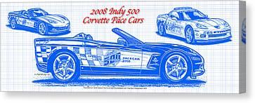 2008 Indy 500 Corvette Pace Car Blueprint Series Canvas Print by K Scott Teeters