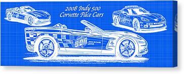 2008 Indy 500 Corvette Pace Cars Blueprint Series - Reversed Canvas Print by K Scott Teeters