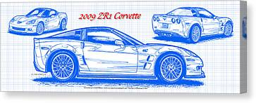 2009 C6 Zr1 Corvette Blueprint Canvas Print by K Scott Teeters