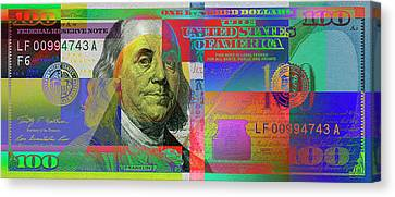 Canvas Print featuring the digital art  2009 Series Pop Art Colorized U. S. One Hundred Dollar Bill No. 1 by Serge Averbukh