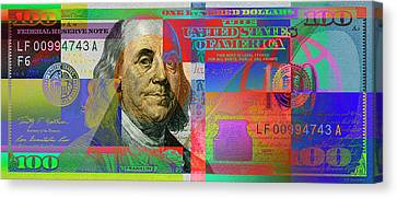 2009 Series Pop Art Colorized U. S. One Hundred Dollar Bill No. 1 Canvas Print
