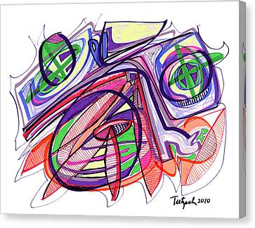 Contemporary Canvas Print - 2010 Abstract Drawing Eleven by Lynne Taetzsch