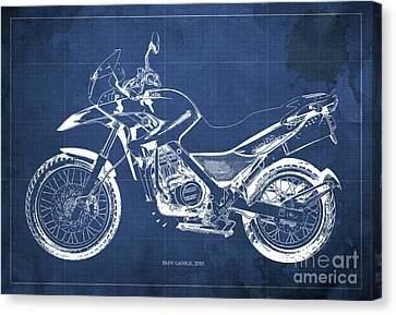 2010 Bmw G650gs Vintage Blueprint Blue Background Canvas Print by Pablo Franchi