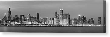 2010 Chicago Skyline Black And White Canvas Print by Donald Schwartz