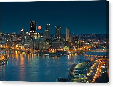 Upmc Canvas Print - 2011 Supermoon Over Pittsburgh by Jennifer Grover