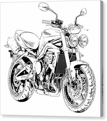 Arte Canvas Print - 2011 Triumph Street Triple, Black And White Motorcycle by Pablo Franchi