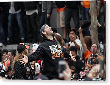 2012 San Francisco Giants World Series Champions Parade - Marco Scutaro - Dpp0008 Canvas Print by Wingsdomain Art and Photography
