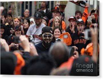 2012 San Francisco Giants World Series Champions Parade - Sergio Romo - Dpp0007 Canvas Print by Wingsdomain Art and Photography