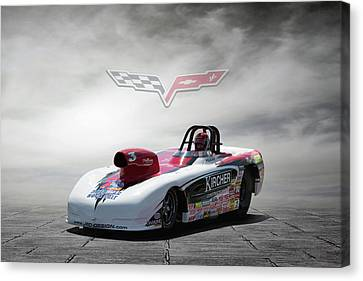 Drag Racing Canvas Print - 2013 Corvette by Peter Chilelli