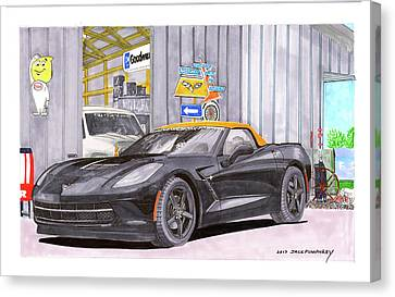 Canvas Print featuring the painting 2014 Corvette And Man Cave Garage by Jack Pumphrey