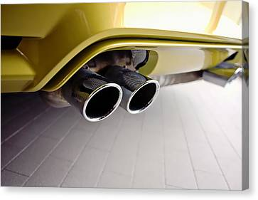 Canvas Print featuring the photograph 2015 Bmw M4 Exhaust by Aaron Berg