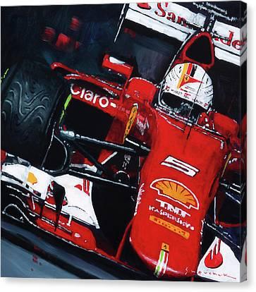 Red Ferrari Canvas Print - 2015 F1 Ferrari Sf15-t Vettel by Yuriy Shevchuk