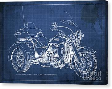 2015 Harley-davidson Flhtcutg Tri Glide Ultra Classic Blueprint Blue Background Canvas Print by Pablo Franchi
