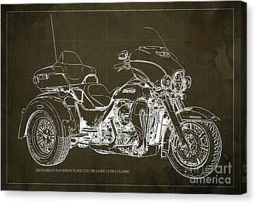 2015 Harley-davidson Flhtcutg Tri Glide Ultra Classic Blueprint Brown Background Canvas Print by Pablo Franchi
